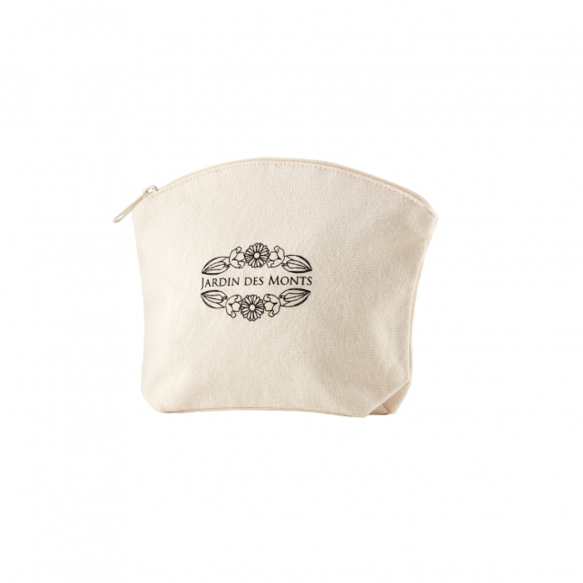Natural cotton zipper pouch
